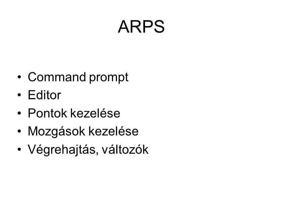 ARPS Command prompt Editor Pontok kezelése Mozgások kezelése