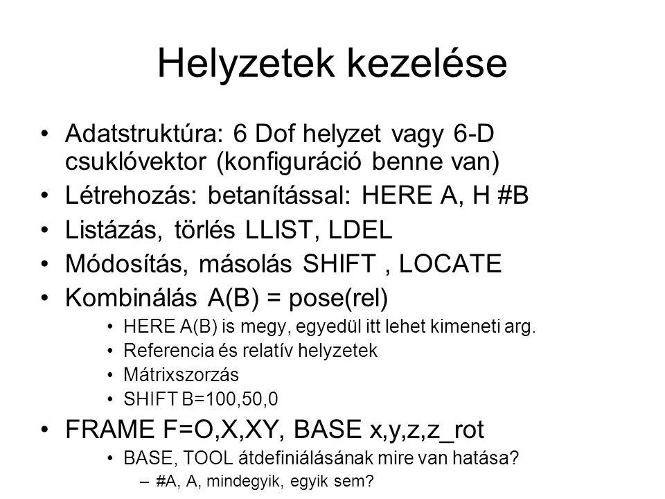 Helyzetek kezelése Adatstruktúra: 6 Dof helyzet vagy 6-D csuklóvektor (konfiguráció benne van) Létrehozás: betanítással: HERE A, H #B.