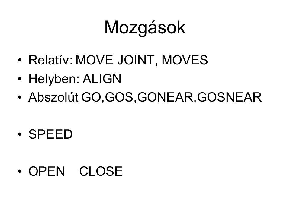 Mozgások Relatív: MOVE JOINT, MOVES Helyben: ALIGN