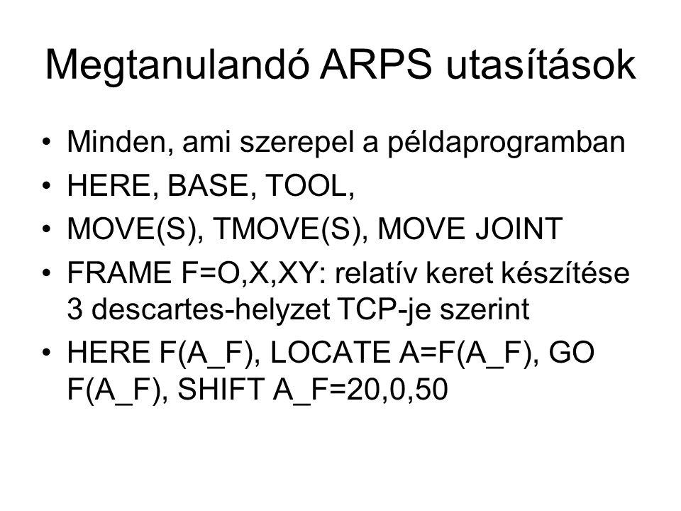 Megtanulandó ARPS utasítások