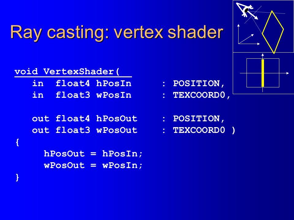 Ray casting: vertex shader