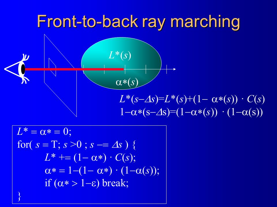 Front-to-back ray marching