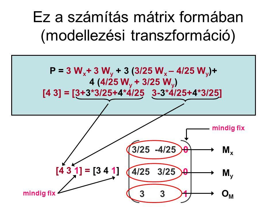 Ez a számítás mátrix formában (modellezési transzformáció)