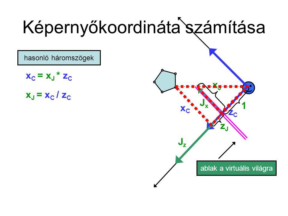 Képernyőkoordináta számítása