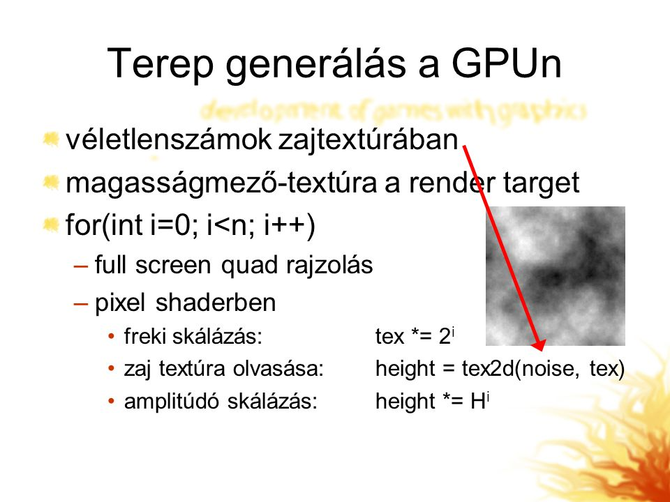 Terep generálás a GPUn véletlenszámok zajtextúrában