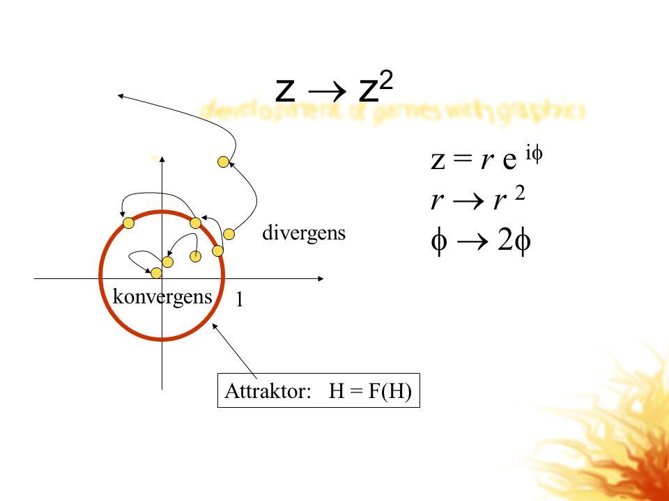 z  z2 z = r e i r  r 2   2 divergens konvergens 1