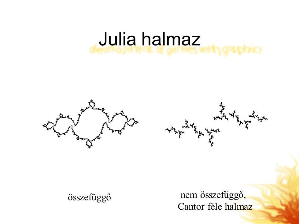 Julia halmaz nem összefüggő, Cantor féle halmaz összefüggő