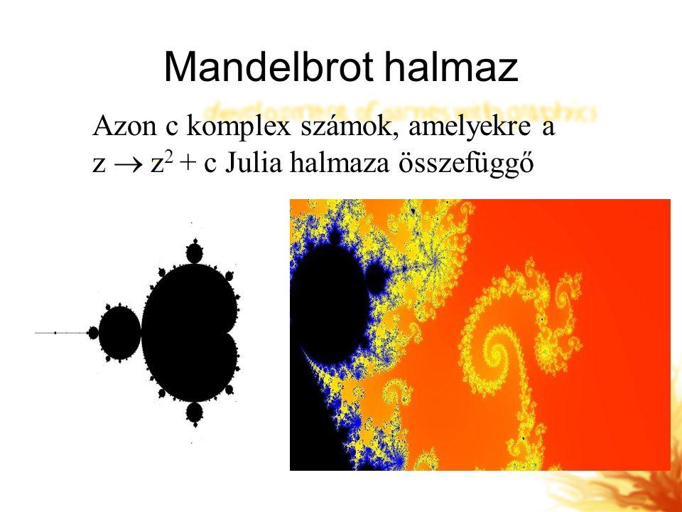 Mandelbrot halmaz Azon c komplex számok, amelyekre a