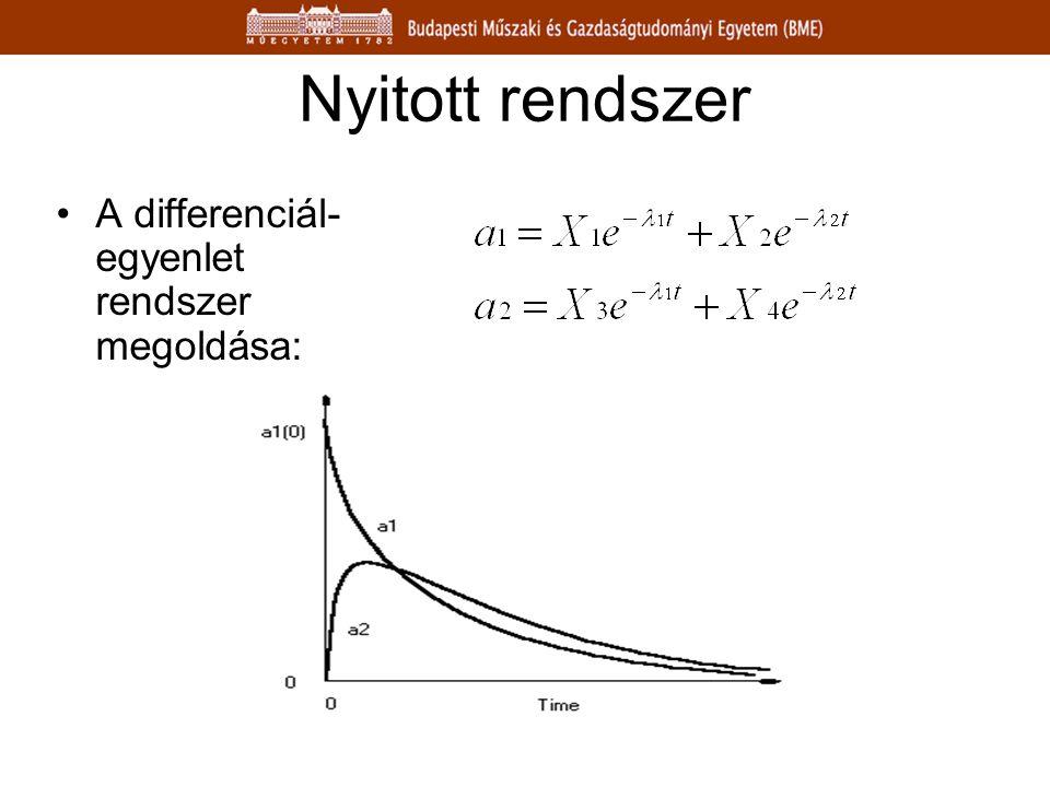 Nyitott rendszer A differenciál-egyenlet rendszer megoldása: