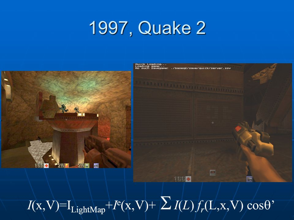 1997, Quake 2 I(x,V)=ILightMap+Ie(x,V)+ S I(L) fr(L,x,V) cos'