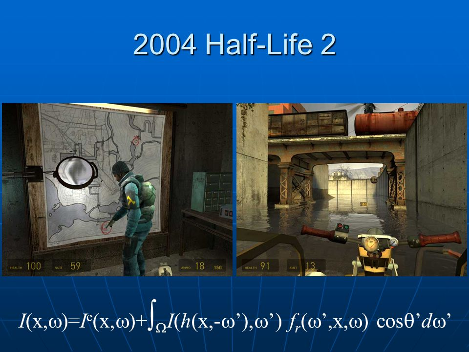 2004 Half-Life 2 I(x,w)=Ie(x,w)+I(h(x,-w'),w') fr(',x,) cos'dw'