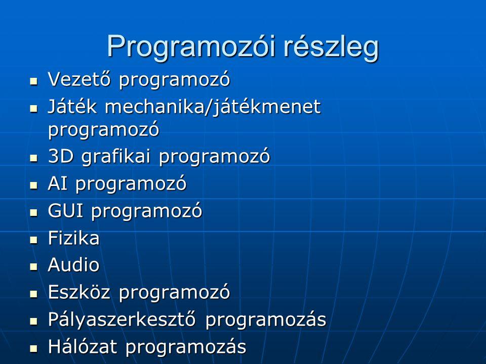 Programozói részleg Vezető programozó