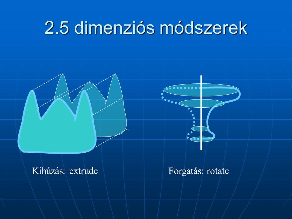 2.5 dimenziós módszerek Kihúzás: extrude Forgatás: rotate