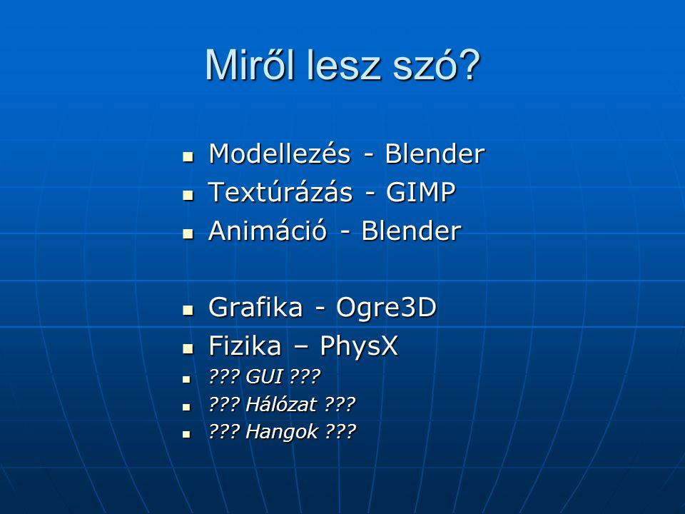 Miről lesz szó Modellezés - Blender Textúrázás - GIMP