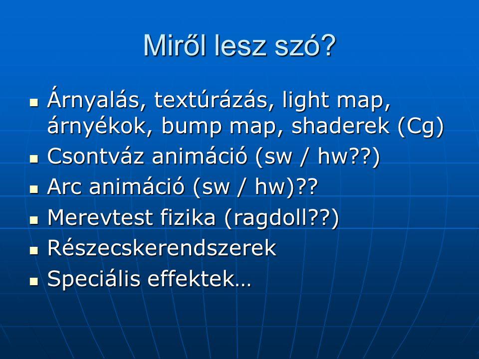 Miről lesz szó Árnyalás, textúrázás, light map, árnyékok, bump map, shaderek (Cg) Csontváz animáció (sw / hw )