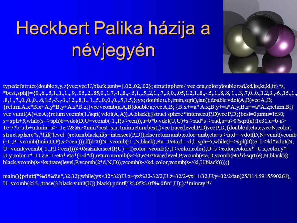 Heckbert Palika házija a névjegyén