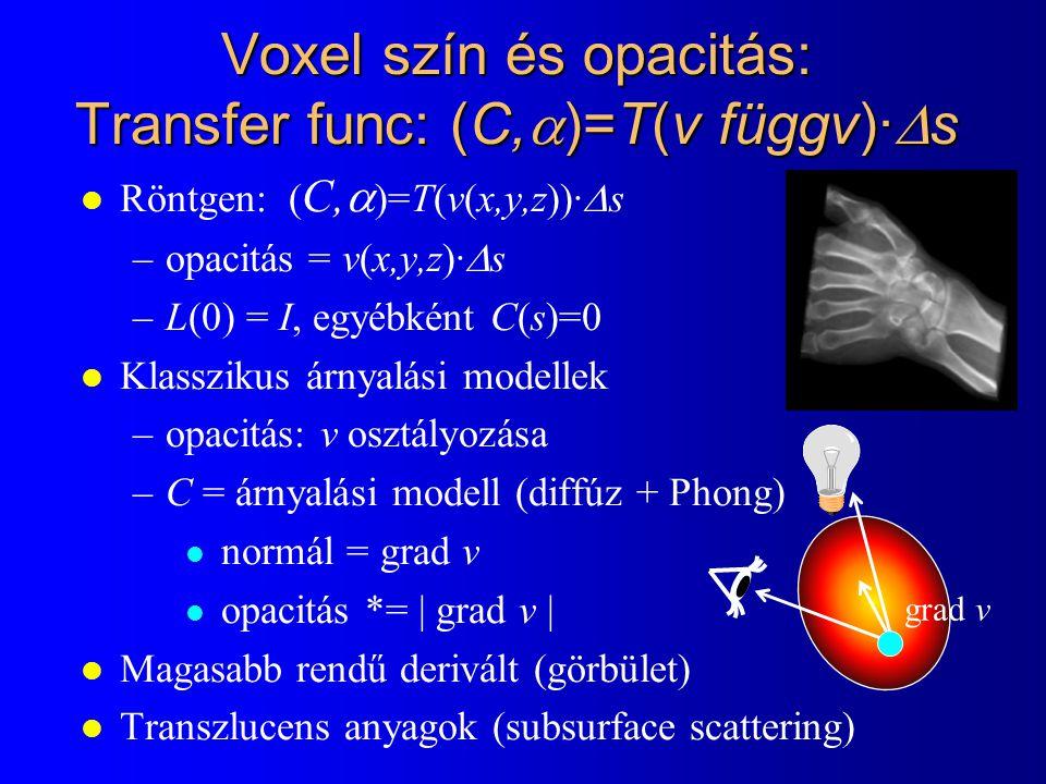 Voxel szín és opacitás: Transfer func: (C,)=T(v függv)·s