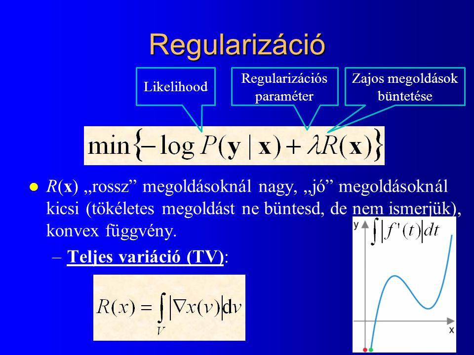 Regularizáció Likelihood. Regularizációs paraméter. Zajos megoldások büntetése.