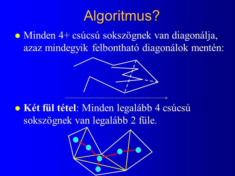 Algoritmus Minden 4+ csúcsú sokszögnek van diagonálja, azaz mindegyik felbontható diagonálok mentén: