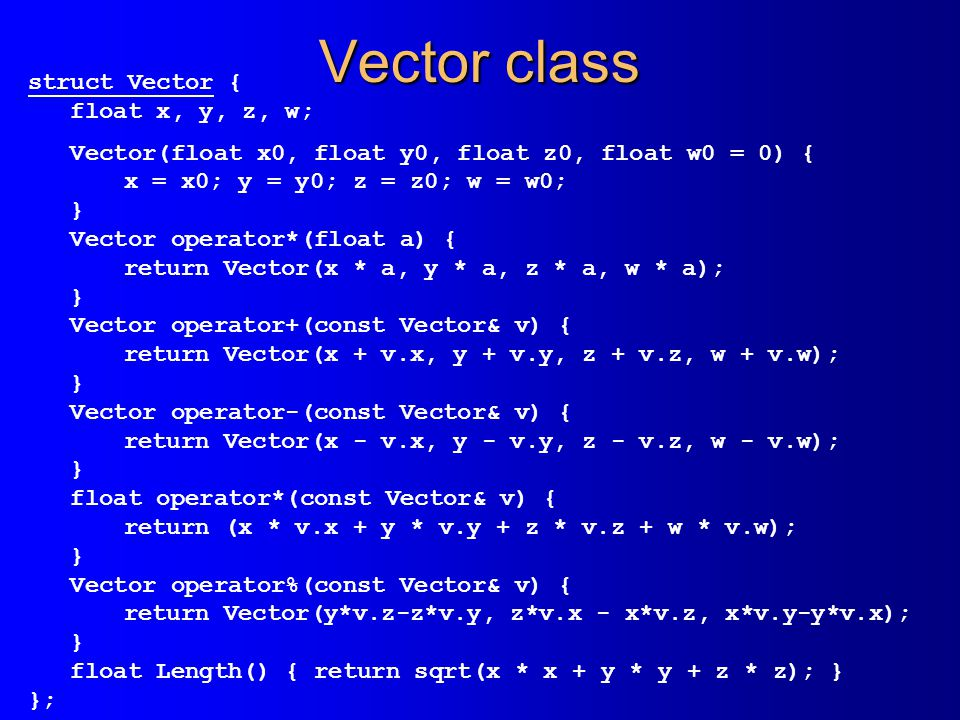 Vector class struct Vector { float x, y, z, w;