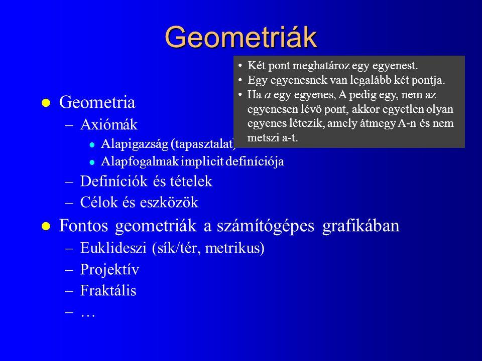 Geometriák Geometria Fontos geometriák a számítógépes grafikában