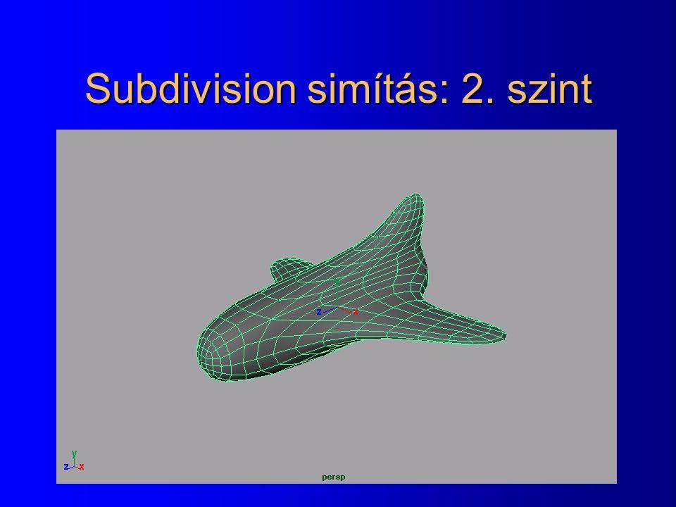 Subdivision simítás: 2. szint