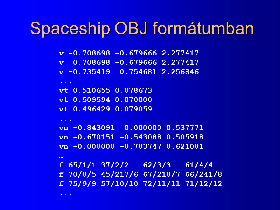 Spaceship OBJ formátumban