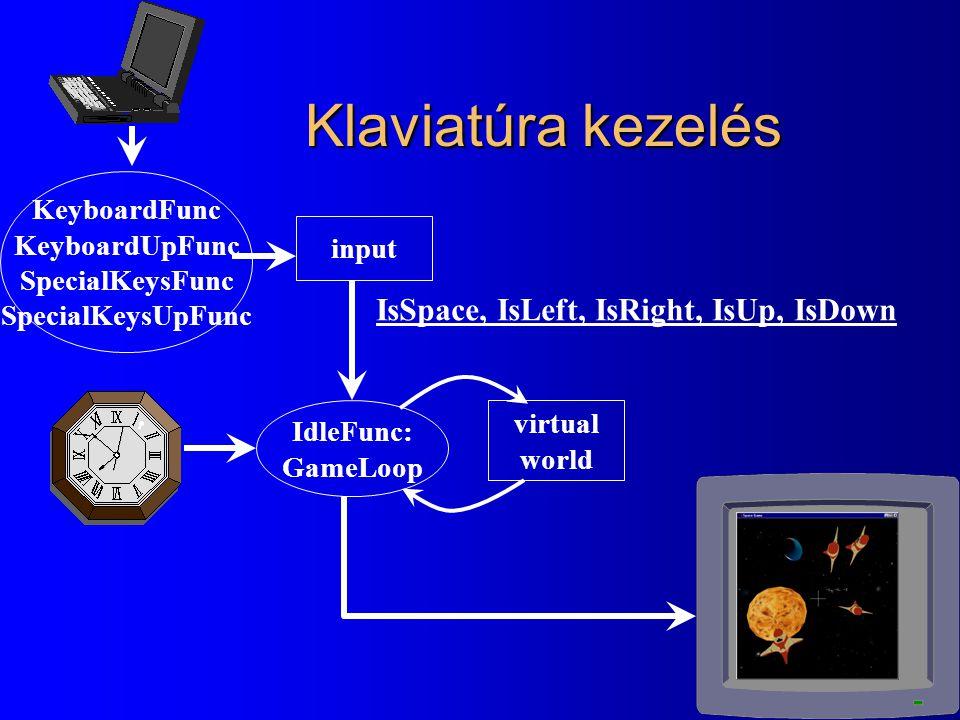 Klaviatúra kezelés IsSpace, IsLeft, IsRight, IsUp, IsDown KeyboardFunc