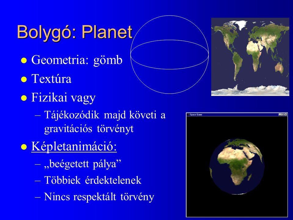 Bolygó: Planet Geometria: gömb Textúra Fizikai vagy Képletanimáció:
