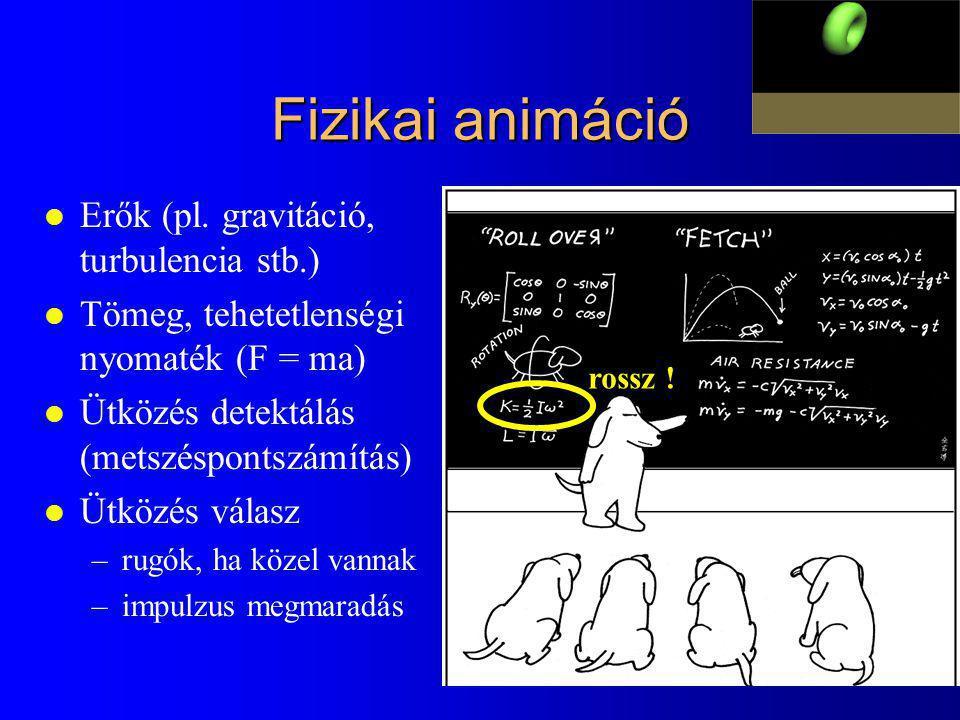Fizikai animáció Erők (pl. gravitáció, turbulencia stb.)