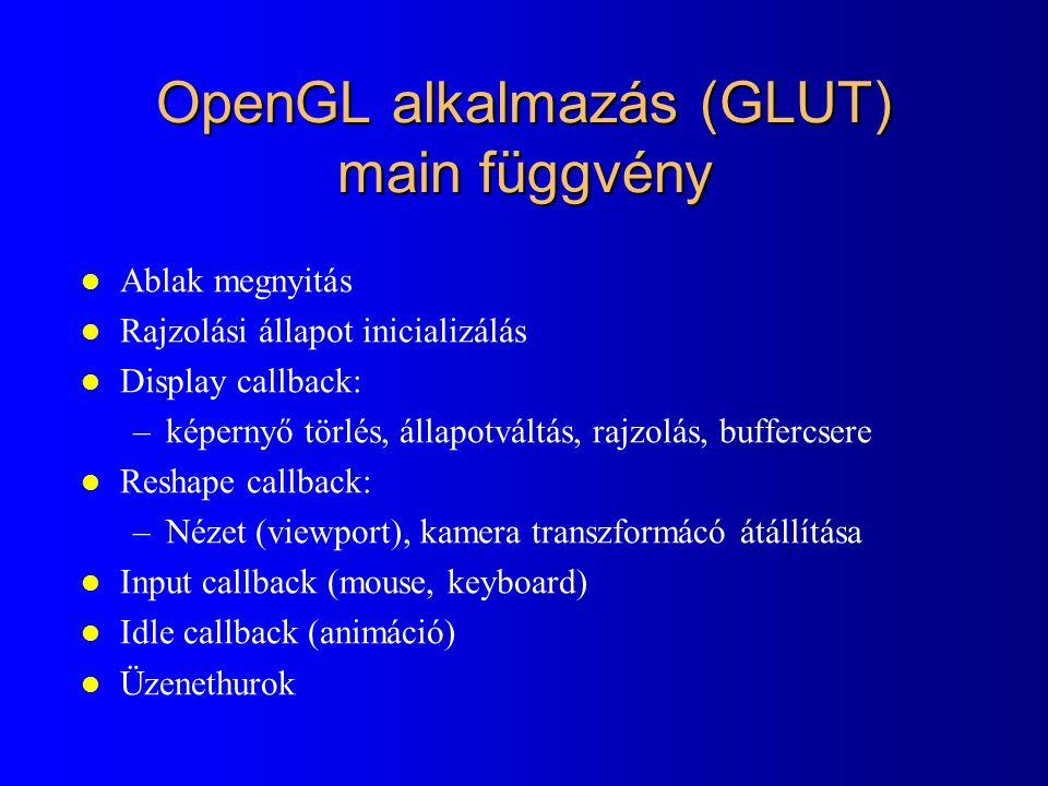 OpenGL alkalmazás (GLUT) main függvény