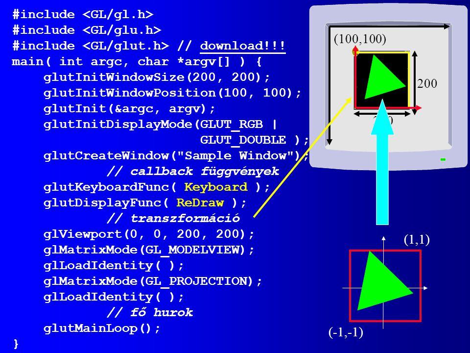OpenGL/ GLUT inicializálás