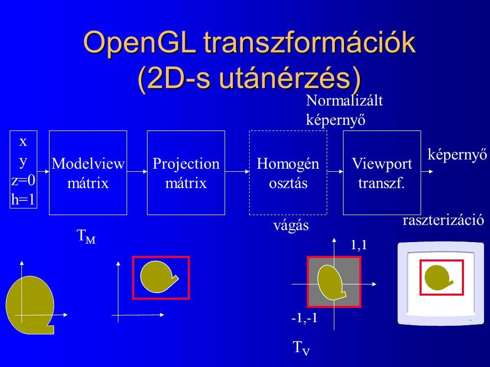 OpenGL transzformációk (2D-s utánérzés)