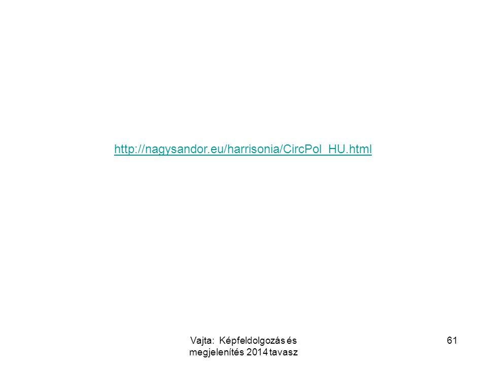 Vajta: Képfeldolgozás és megjelenítés 2014 tavasz