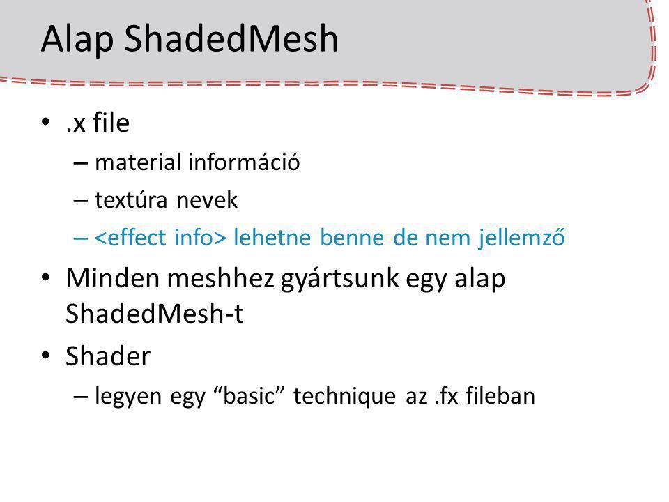 Alap ShadedMesh .x file Minden meshhez gyártsunk egy alap ShadedMesh-t