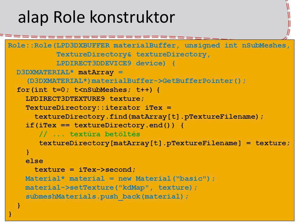 alap Role konstruktor Role::Role(LPD3DXBUFFER materialBuffer, unsigned int nSubMeshes, TextureDirectory& textureDirectory,