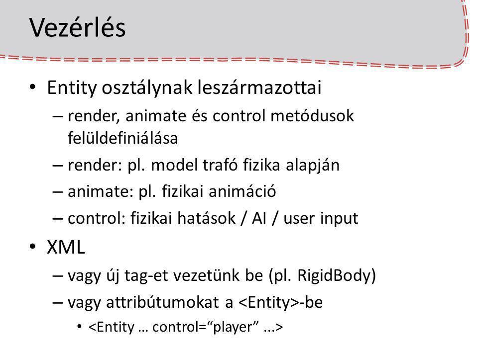 Vezérlés Entity osztálynak leszármazottai XML