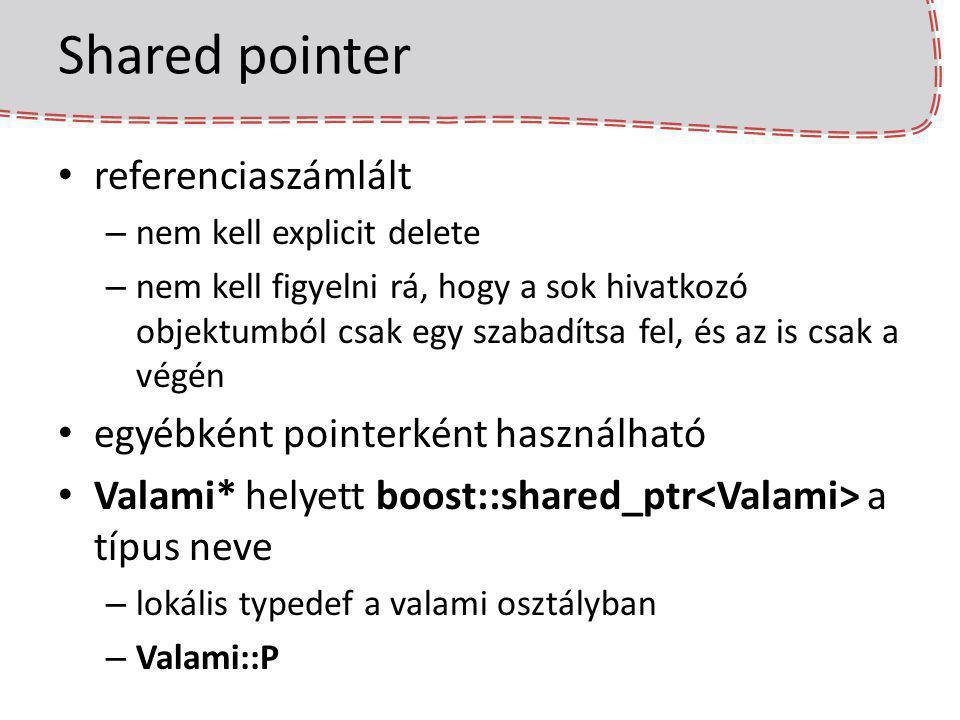 Shared pointer referenciaszámlált egyébként pointerként használható