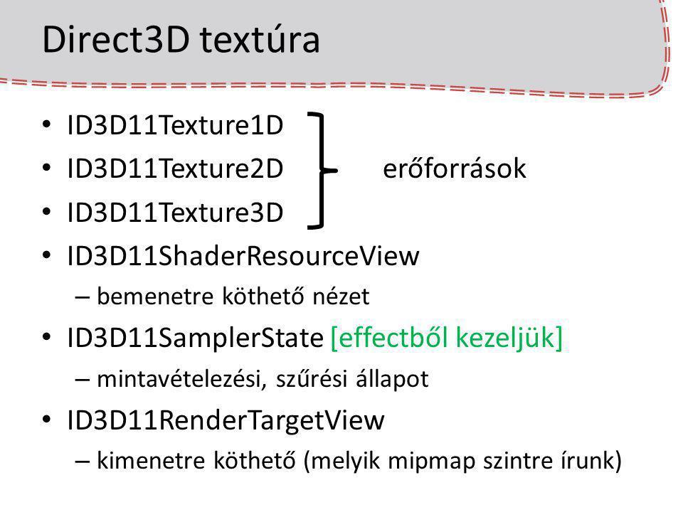 Direct3D textúra ID3D11Texture1D ID3D11Texture2D erőforrások