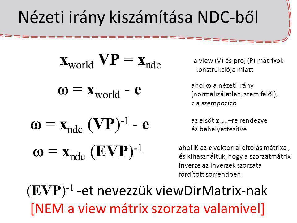 Nézeti irány kiszámítása NDC-ből