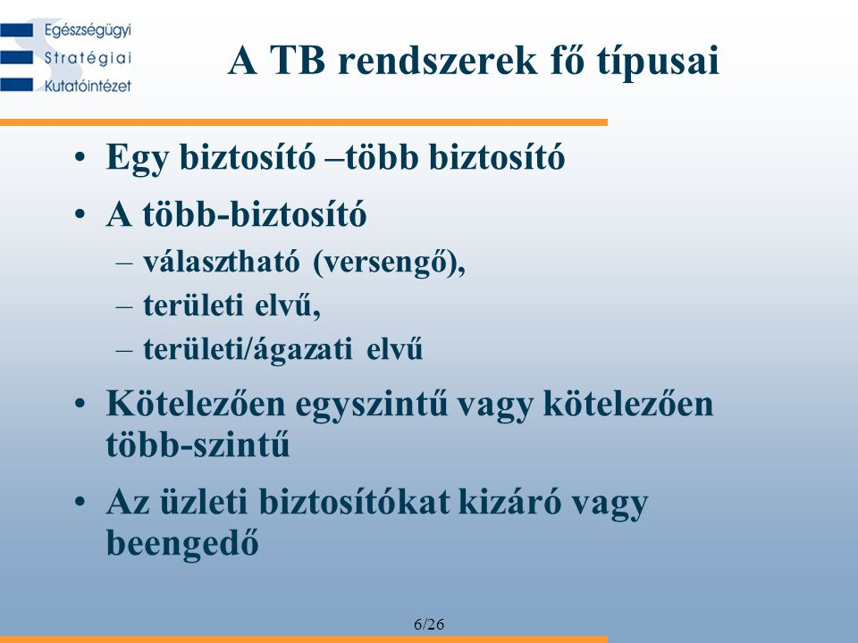 A TB rendszerek fő típusai