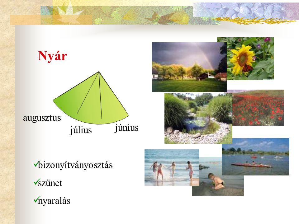 Nyár augusztus június július bizonyítványosztás szünet nyaralás