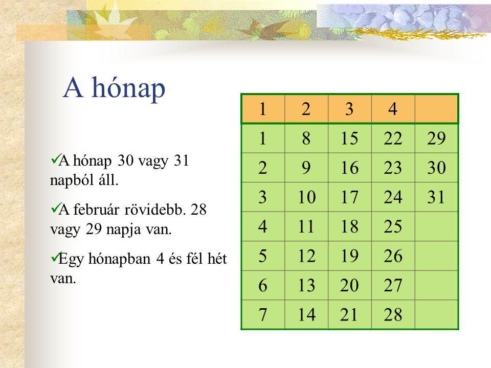 A hónap 1. 2. 3. 4. 8. 15. 22. 29. 9. 16. 23. 30. 10. 17. 24. 31. 11. 18. 25. 5.