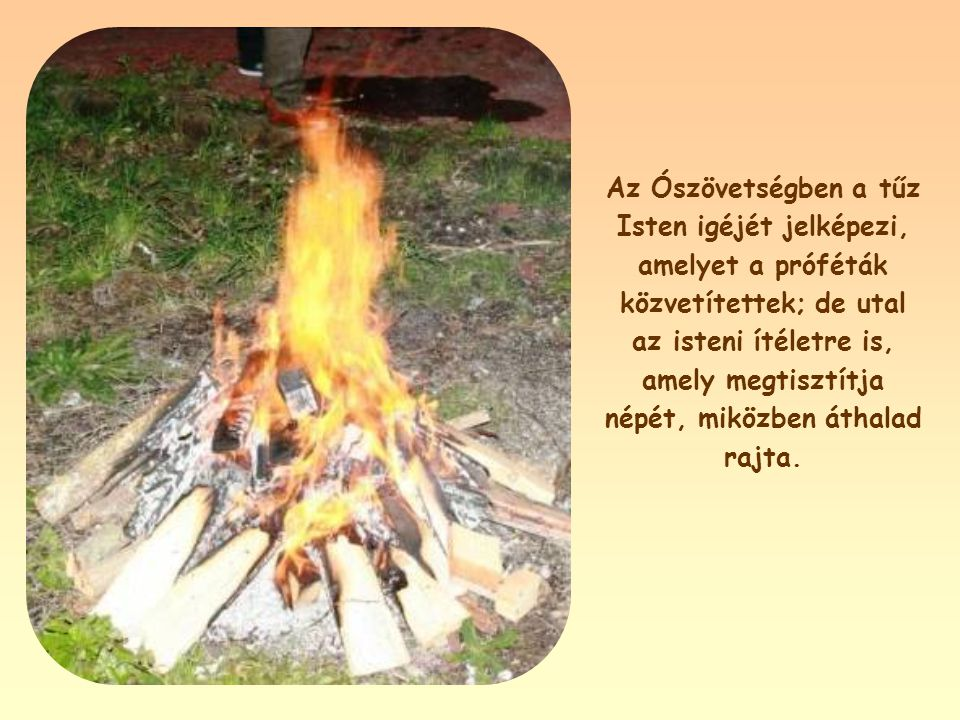 Az Ószövetségben a tűz Isten igéjét jelképezi, amelyet a próféták közvetítettek; de utal az isteni ítéletre is, amely megtisztítja népét, miközben áthalad rajta.