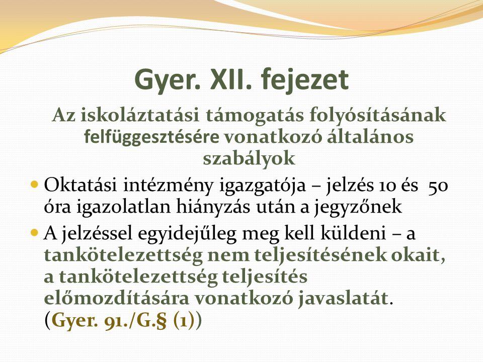 Gyer. XII. fejezet Az iskoláztatási támogatás folyósításának felfüggesztésére vonatkozó általános szabályok.