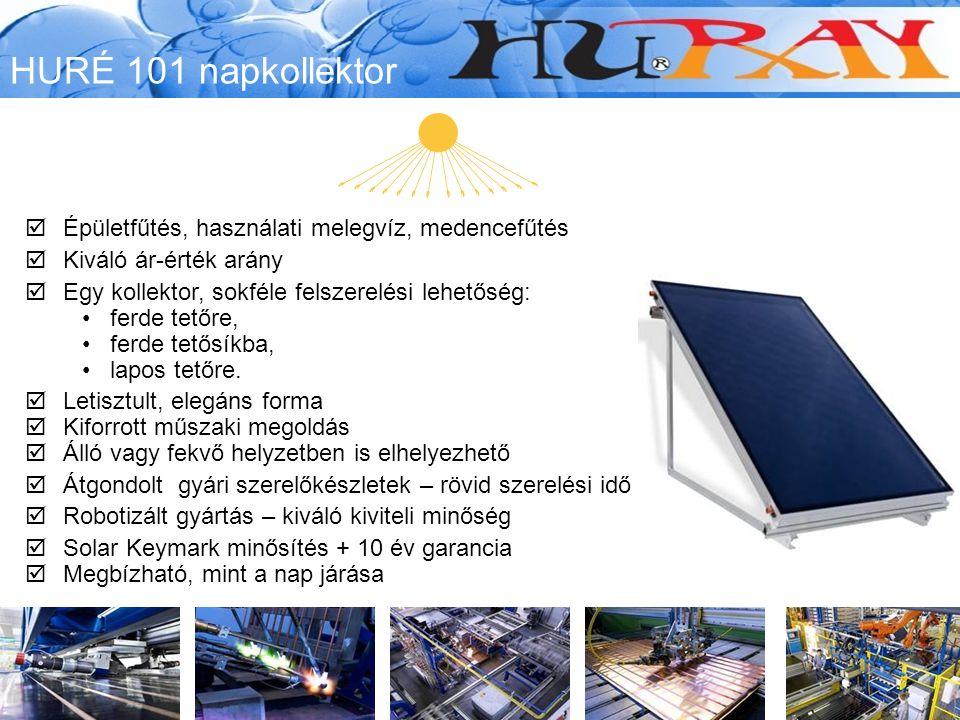 HURÉ 101 napkollektor Épületfűtés, használati melegvíz, medencefűtés