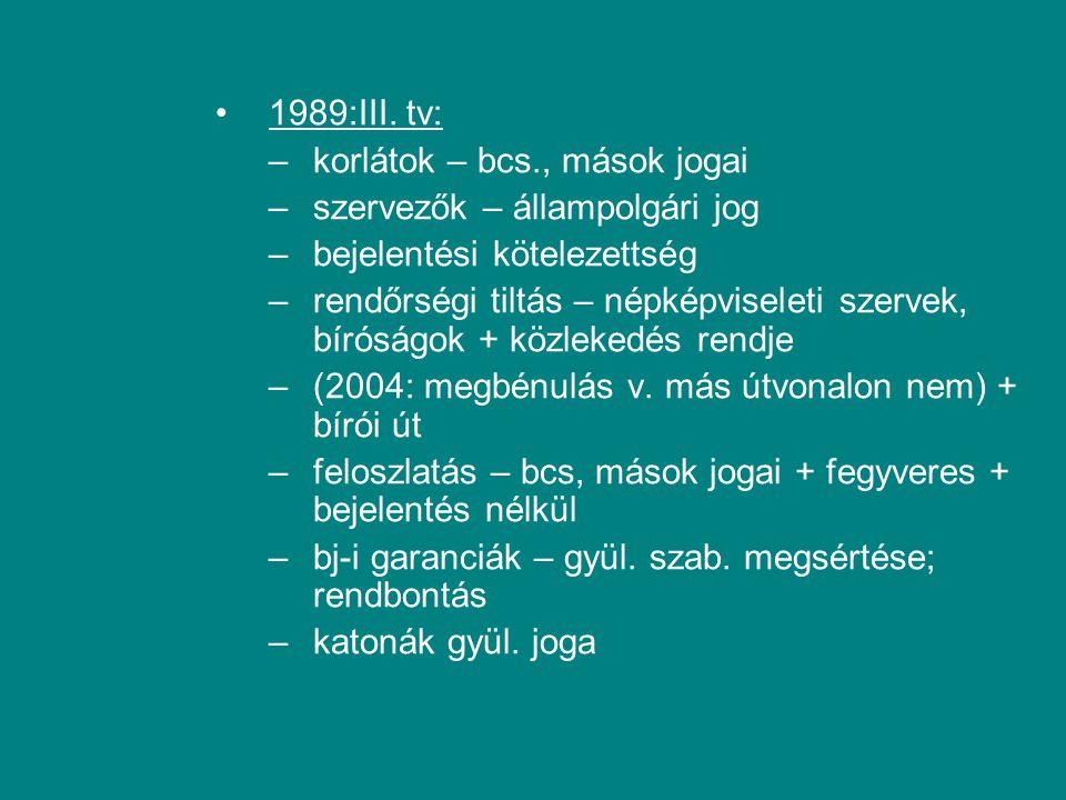 1989:III. tv: korlátok – bcs., mások jogai. szervezők – állampolgári jog. bejelentési kötelezettség.