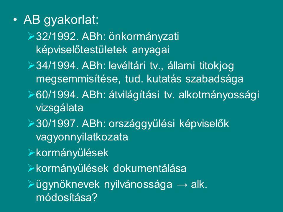 AB gyakorlat: 32/1992. ABh: önkormányzati képviselőtestületek anyagai