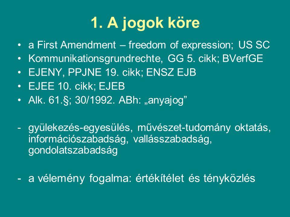 1. A jogok köre a vélemény fogalma: értékítélet és tényközlés