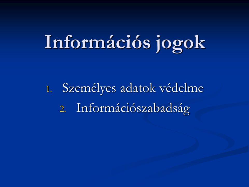 Személyes adatok védelme Információszabadság